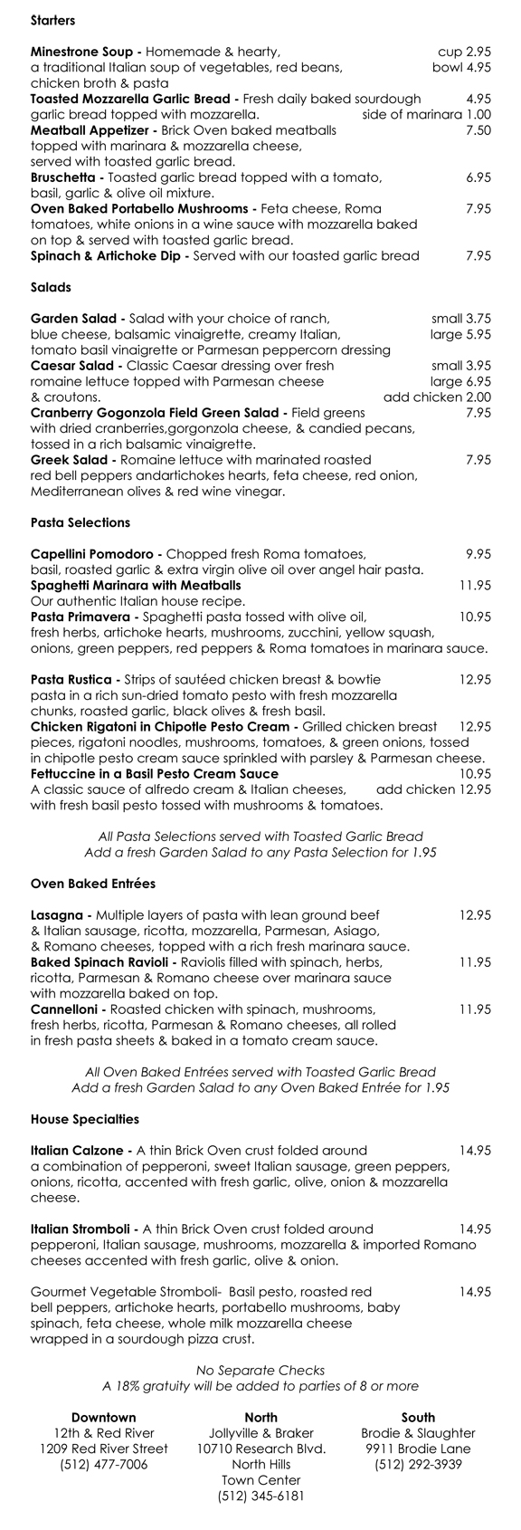 dinner menu beta